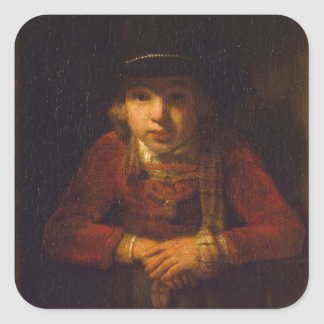 Boy Looking through the Window, c.1647 Square Sticker