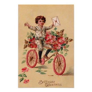 Boy Mail Pink Flower Bicycle Birthday Photographic Print