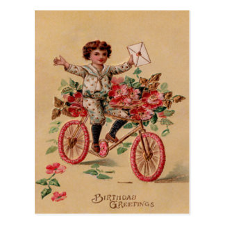 Boy Mail Pink Flower Bicycle Birthday Postcard