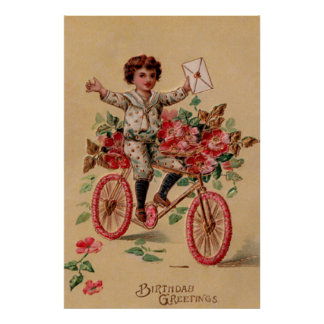 Boy Mail Pink Flower Bicycle Birthday Poster