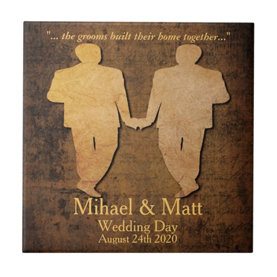 Boy Meets Boy Gay Wedding Gift Tile for Grooms