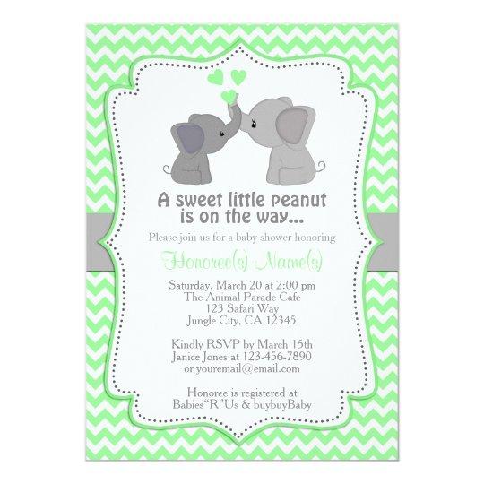 Boy Mint Elephant Baby Shower Invitations Chev 362