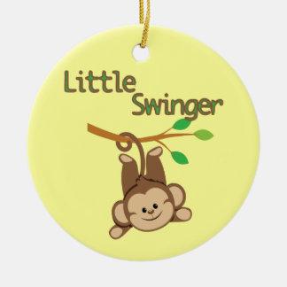 Boy Monkey Little Swinger Double-Sided Ceramic Round Christmas Ornament