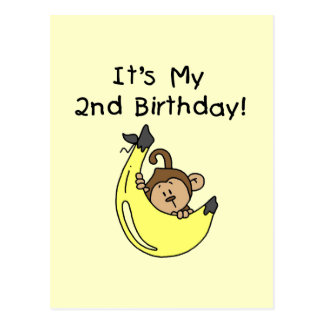 Boy Monkey on Banana 2nd Birthday Postcard