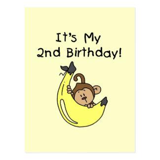 Boy Monkey on Banana 2nd Birthday Post Card