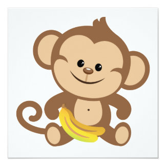 Boy Monkey With Banana 13 Cm X 13 Cm Square Invitation Card