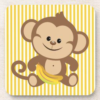 Boy Monkey With Banana Beverage Coaster