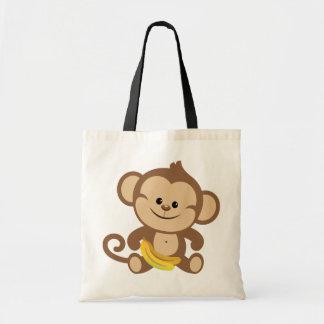 Boy Monkey With Banana Budget Tote Bag