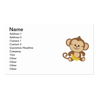 Boy Monkey With Banana Double-Sided Standard Business Cards (Pack Of 100)