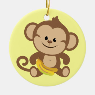Boy Monkey With Banana Double-Sided Ceramic Round Christmas Ornament