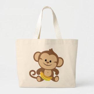 Boy Monkey With Banana Jumbo Tote Bag