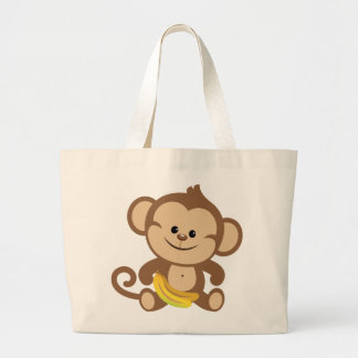 Boy Monkey With Banana Large Tote Bag