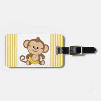 Boy Monkey With Banana Luggage Tag