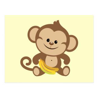 Boy Monkey With Banana Postcard