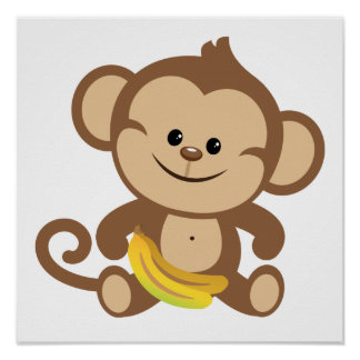 Boy Monkey With Banana Poster