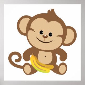 Boy Monkey With Banana Poster