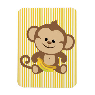 Boy Monkey With Banana Rectangular Magnet