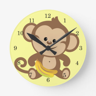 Boy Monkey With Banana Round Clock