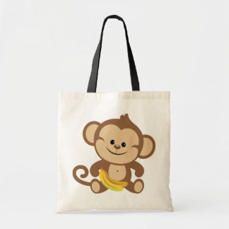 Boy Monkey With Banana Tote Bag