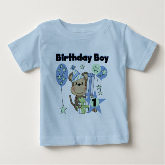 Boy Monkey With Gifts 1st Birthday Baby T-Shirt