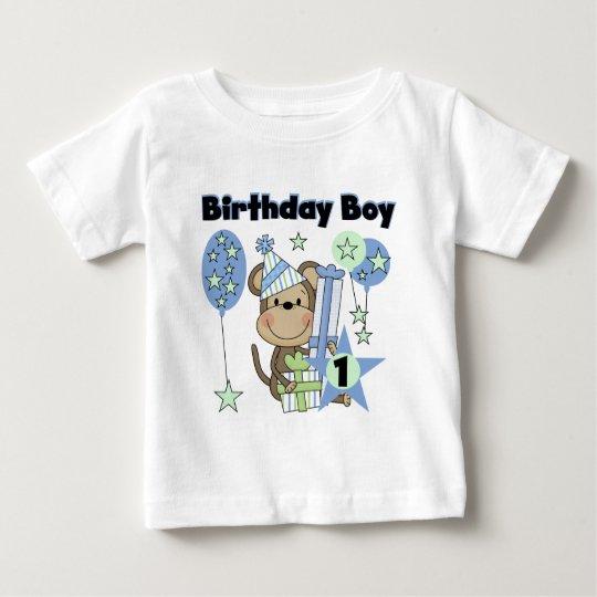 Boy Monkey With Gifts 1st Birthday Baby T-Shirt