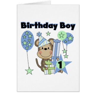 Boy Monkey With Gifts 1st Birthday Card