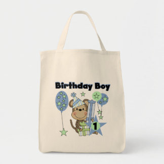 Boy Monkey With Gifts 1st Birthday Grocery Tote Bag