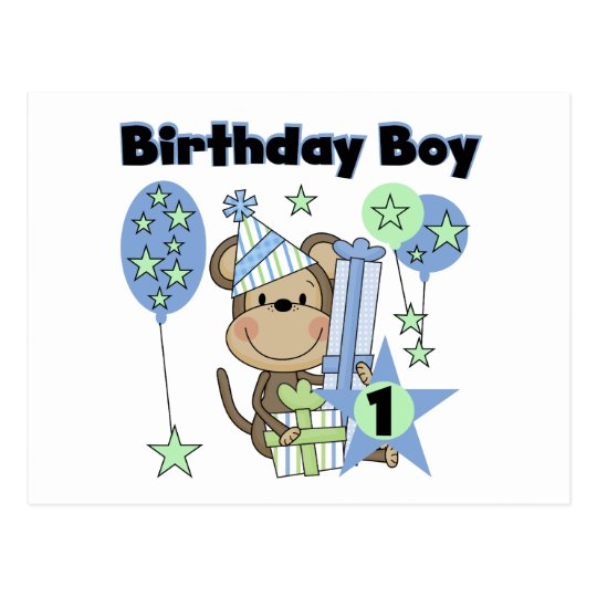 Boy Monkey With Gifts 1st Birthday Postcard