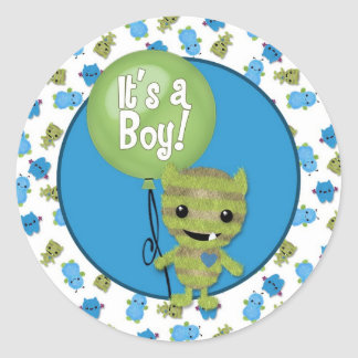 BOY MONSTER Peek a Boo Baby It's a Boy PABC #5 Round Sticker