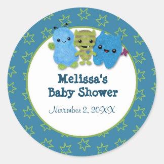BOY MONSTER Peek a Boo Baby Shower blank PABC #2 Round Sticker