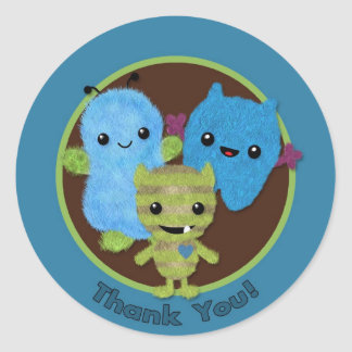 BOY MONSTER Peek a Boo Baby Shower Thank You PABC4 Classic Round Sticker