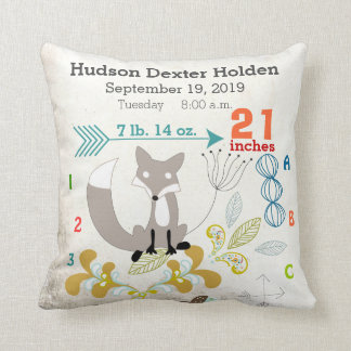 Boy Nursery Baby Birth Stat Fox Arrow Pattern Cushion