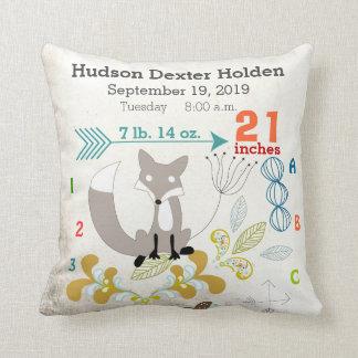 Boy Nursery Baby Birth Stat Fox Arrow Pattern Cushion