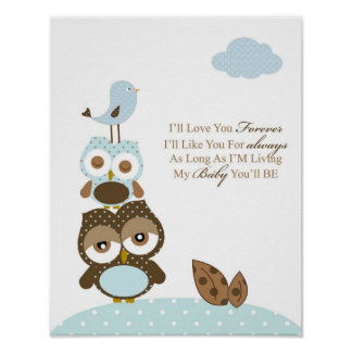 Boy nursery bedroom art I will love you forever Poster