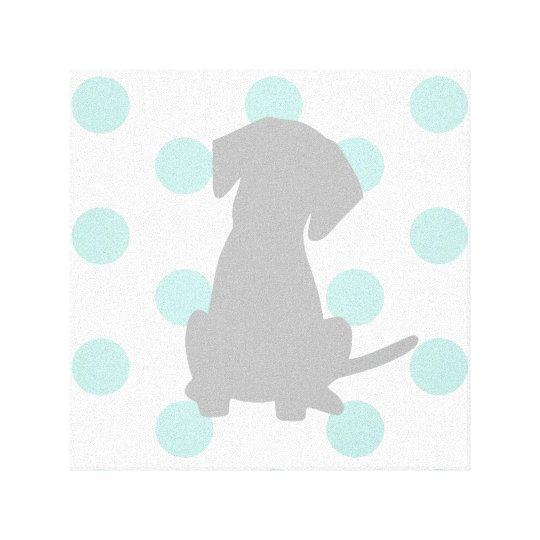 Boy Nursery Puppy Art Canvas Print