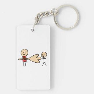 Boy Offering Shake Hand Peace Friend Friendship Double-Sided Rectangular Acrylic Key Ring