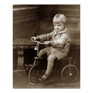 Boy on a Tricycle Poster