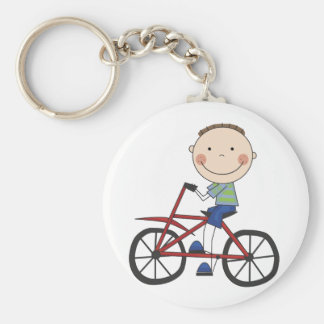 Boy on Bicycle Tshirts and Gifts Basic Round Button Key Ring