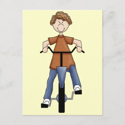 Boy On Bike Post Card