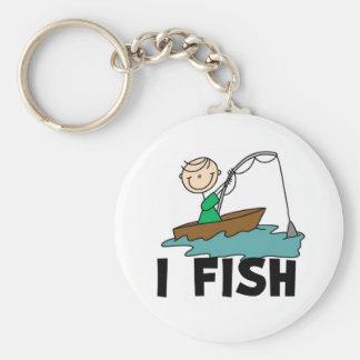 Boy on Boat I Fish Basic Round Button Key Ring