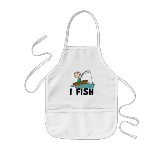 Boy on Boat I Fish Tshirts and Gifts Kids Apron