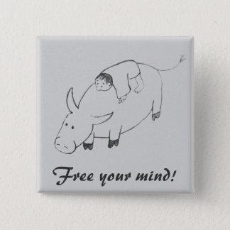 Boy on buffalo zen painting 15 cm square badge