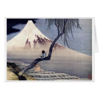 Boy on Mount Fuji, Hokusai Greeting Card