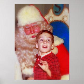 Boy on Santa's Lap - Nostalgic Photo Santa Claus Print
