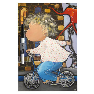 Boy on the bicycle dry erase whiteboards