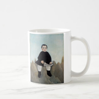 Boy On The Rocks - Henri Rousseau Basic White Mug