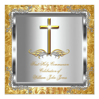 Boy or Girl First 1st Holy Communion Gold Silver 2 5.25x5.25 Square Paper Invitation Card
