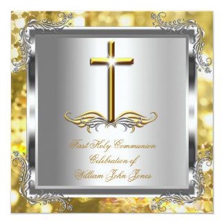 Boy or Girl First 1st Holy Communion Gold Silver 3 13 Cm X 13 Cm Square Invitation Card
