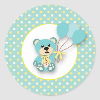 Boy or Girl Green Polkadot Bear Stickers