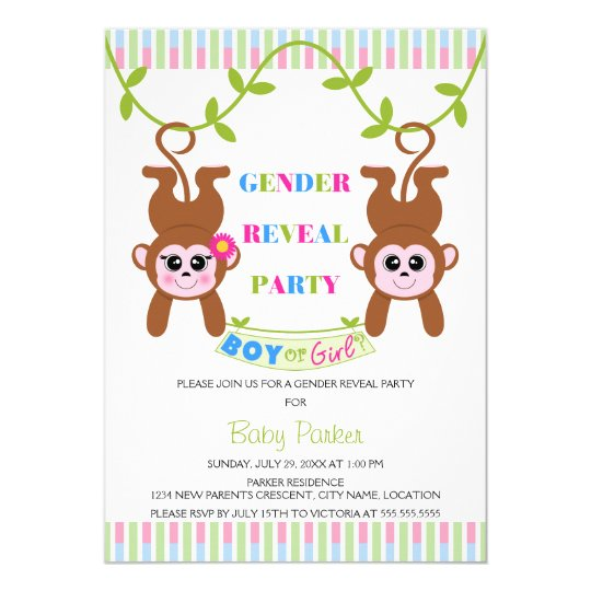 Boy or Girl Monkey Gender Reveal Party Card